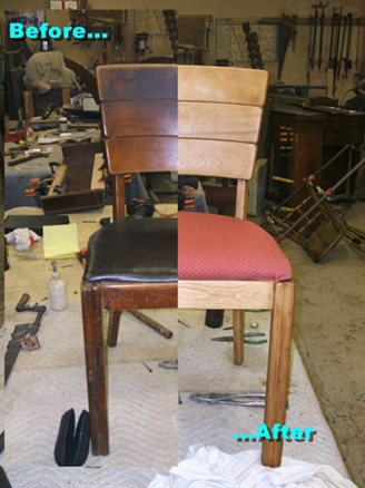 Refurbished old chair with a total refinishing solution. This chair was stripped to the bare wood, repaired, reglued and then stained and finished. The old leather seat was redone in a durable fabric. The light wood grain and the contrasting seat add color and style to an older design.